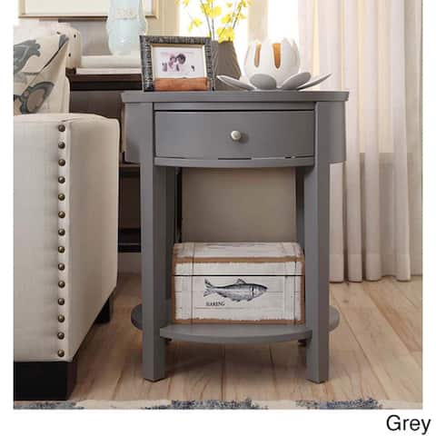 Fillmore 1-Drawer Oval Wood Shelf Accent End Table by iNSPIRE Q Bold - End Table