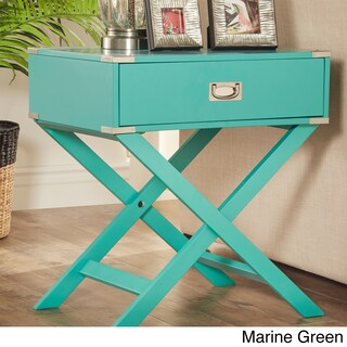 Kenton X Base Wood Accent Campaign Table by iNSPIRE Q Bold (Option: Marine Green)