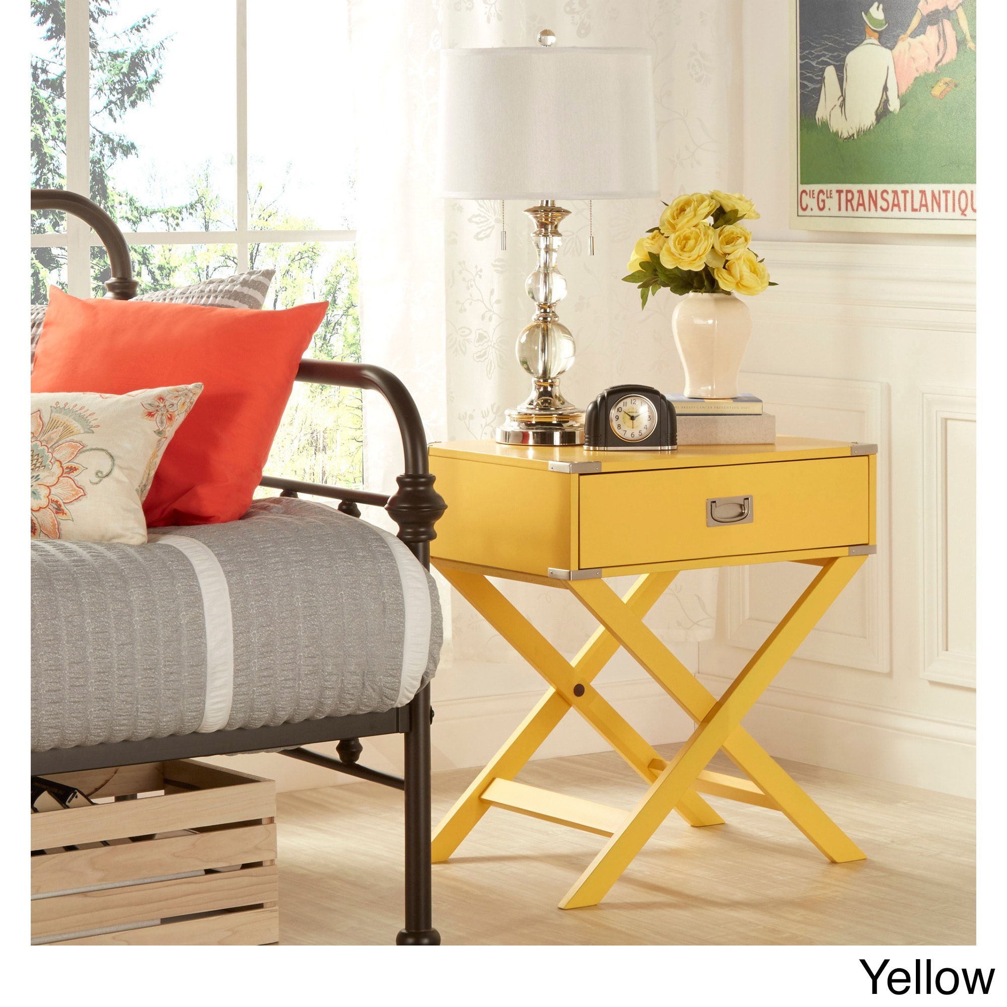 1-drawer Kenton X Base Wood Accent Campaign Table by iNSPIRE Q Bold