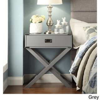 Kenton X Base Wood Accent Campaign Table by iNSPIRE Q Bold (Option: Grey)