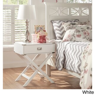 Kenton X Base Wood Accent Campaign Table by iNSPIRE Q Bold (Option: White)