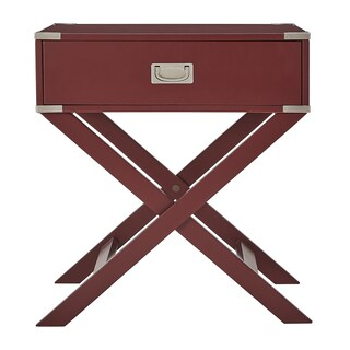 Kenton X Base Wood Accent Campaign Table by iNSPIRE Q Bold (Option: Tawny Port Red)