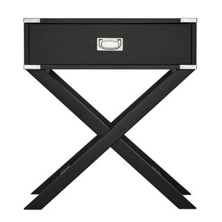 Kenton X Base Wood Accent Campaign Table by iNSPIRE Q Bold (Option: Charcoal Black)