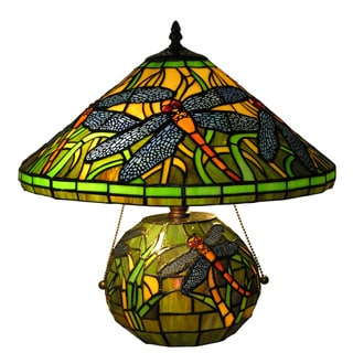 Warehouse of Tiffany Style Green Dragonfly DBL Lamp
