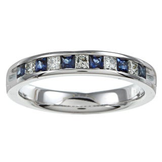 14k White Gold 1/4 CTW Blue Sapphire and Diamond Ring