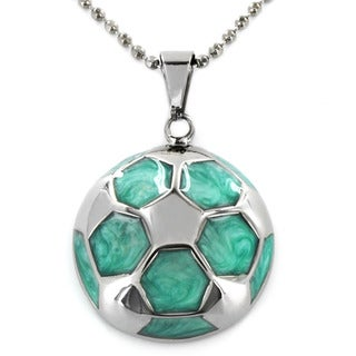 Women's Aqua-colored Stainless Steel Hexagon Patterned Pendant Necklace