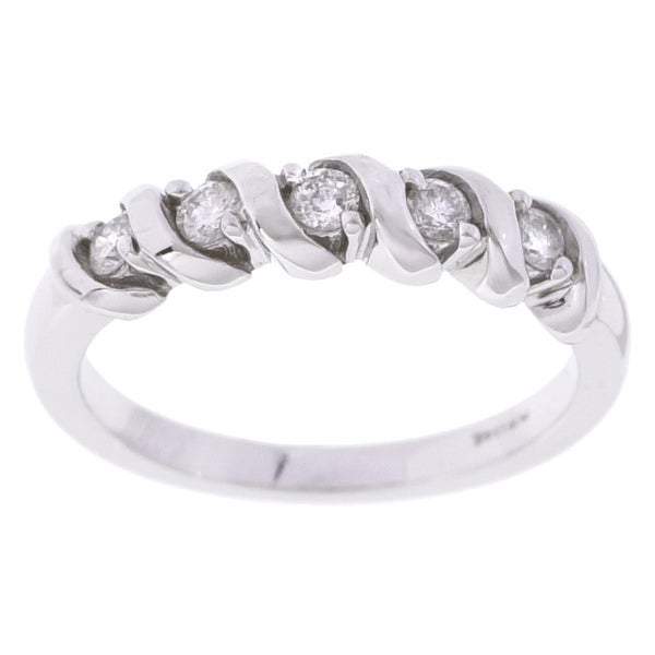 Eloquence 14k White Gold 1/4ct TDW Diamond Twist Ring