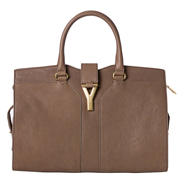 Yves Saint Laurent 'Cabas Chyc' Medium Taupe Leather Tote Bag