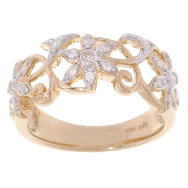 14k Yellow Gold 1/4ct TDW Diamond Flower Filigree Ring (H-I, I2-I3)