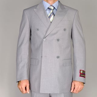 Men's Solid Grey Double Breasted Suit