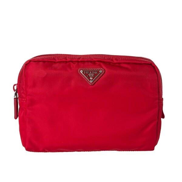 813eabb2eb9f Shop Prada 'Vela' Red Nylon Framed Cosmetic Pouch - Free Shipping ...