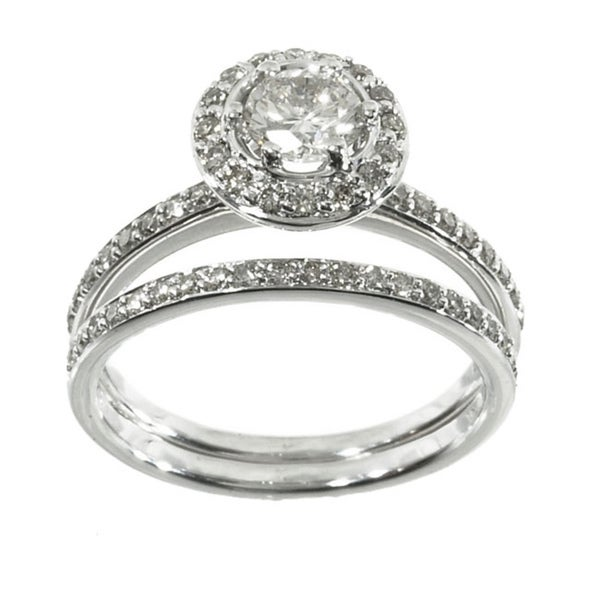 14k White Gold 1ct TDW Diamond Halo Bridal Ring Set (K-L, I1-I2)