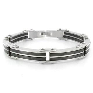 Crucible Stainless Steel Men's Black Rubber Link Bracelet