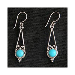 Sterling Silver 'Destiny' Turquoise Earrings (Indonesia)