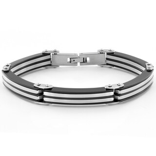 Crucible Stainless Steel Two-tone Stripe Link Bracelet