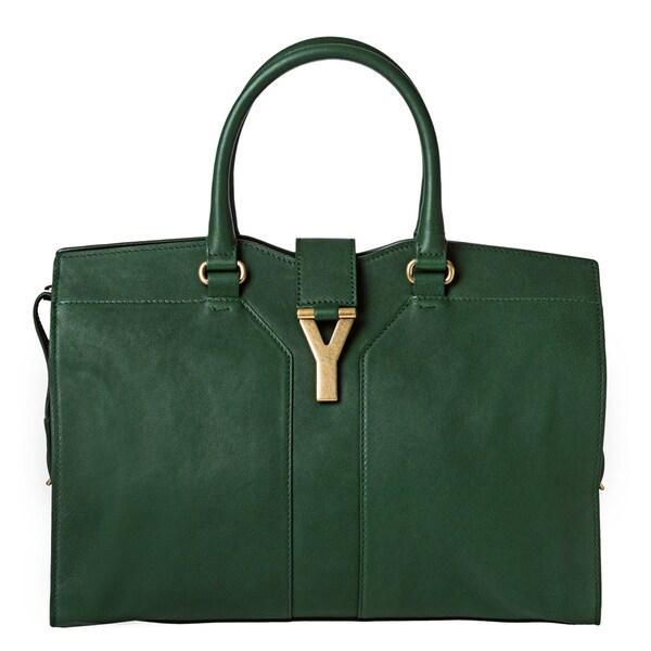 Yves Saint Laurent 'Cabas Chyc' Medium Emerald Leather Tote Bag