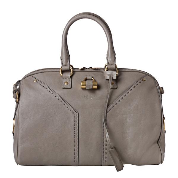 Yves Saint Laurent 'Muse' Light Grey Leather Bowler Bag