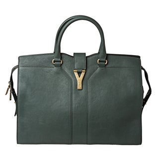 Yves Saint Laurent 'Cabas Chyc' Large Hunter Green Leather Tote Bag
