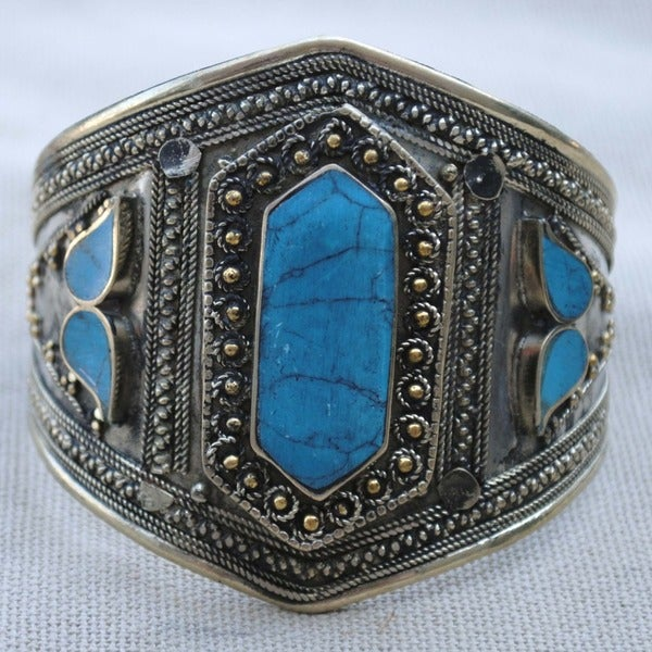 Handcrafted Tribal Lapis Lazuli Cuff Bracelet (Afghanistan)