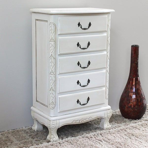 International Caravan Windsor Antique White Carved Wood Five Drawer Jewelry Cabinet