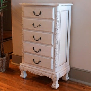 International Caravan Windsor Antique White Carved Wood Five Drawer Jewelry Cabinet