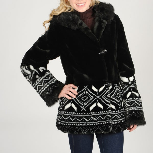 Women's Snowflake Detail Faux Fur Coat