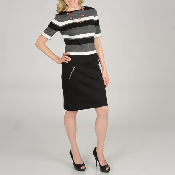 Lennie for Nina Leonard Women's Ponte Striped Dress