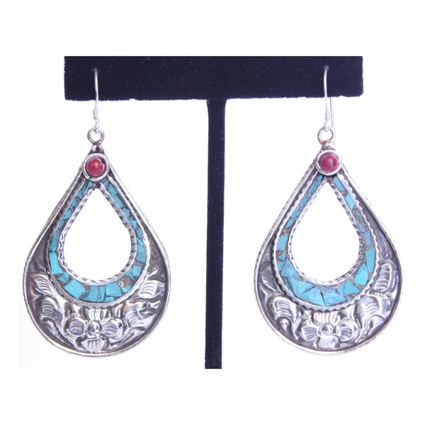 White Metal Teardrop Earrings with Turquoise and Coral (Nepal)