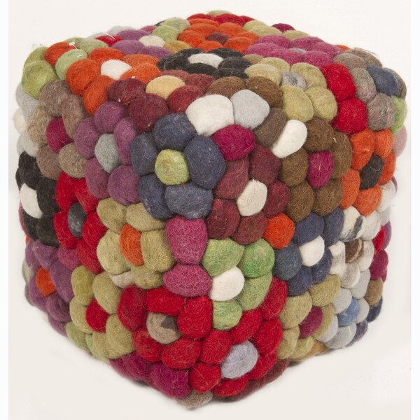 Handmade Multicolor Wool Pouf