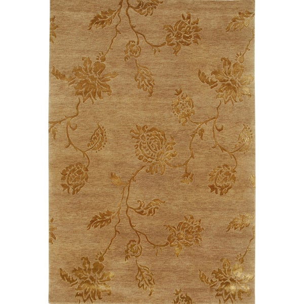 Hand-knotted Floral Beige Wool/ Art-silk Rug (9'6 x 13'6)