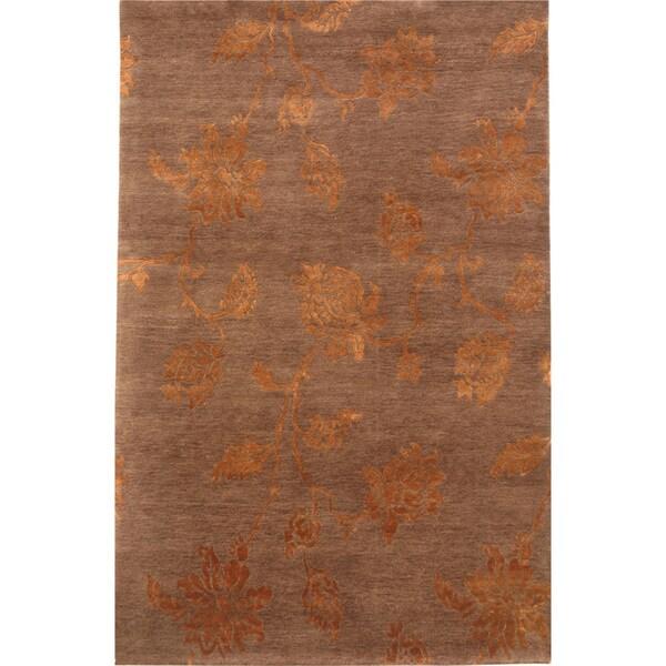 Hand-knotted Floral Dark Brown Wool/ Art-silk Rug (2' x 3')