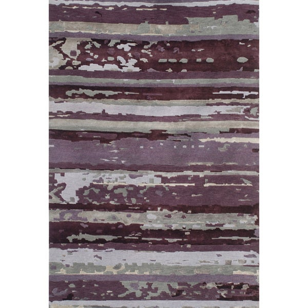 Contemporary Hand-knotted Abstract Amethyst Wool/ Art-silk Rug (2' x 3')