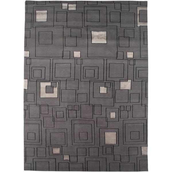 Hand-knotted Geometric Medium Grey Wool/ Art-silk Rug (9'6 x 13'6)