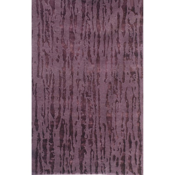 Hand-knotted Abstract Amethyst Wool/ Art-silk Rug (3'6 x 5'6)