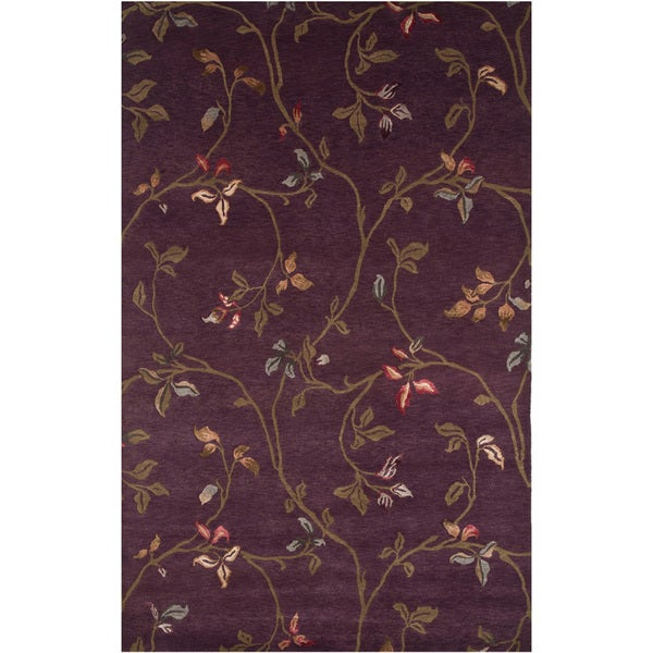 Hand-knotted Floral Amethyst Wool/ Art-silk Rug (5'6 x 8'6)