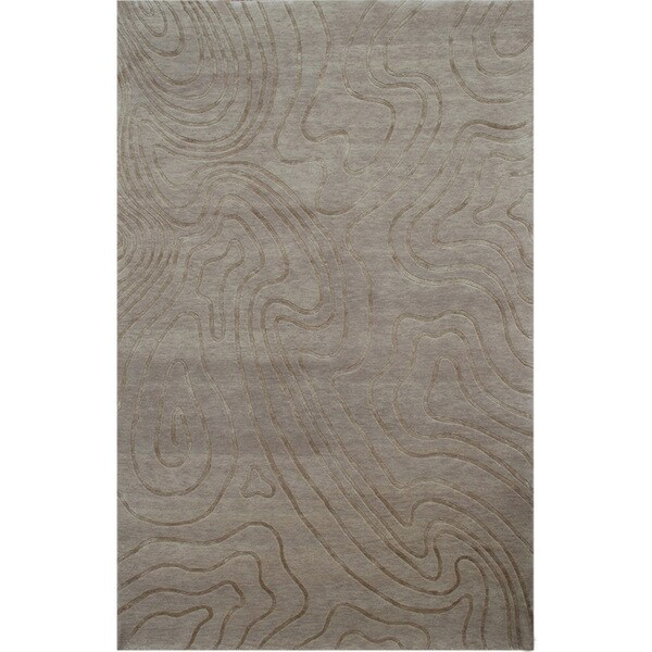 Hand-knotted Abstract Natural Beige Wool/ Art-silk Rug (8' x 11')