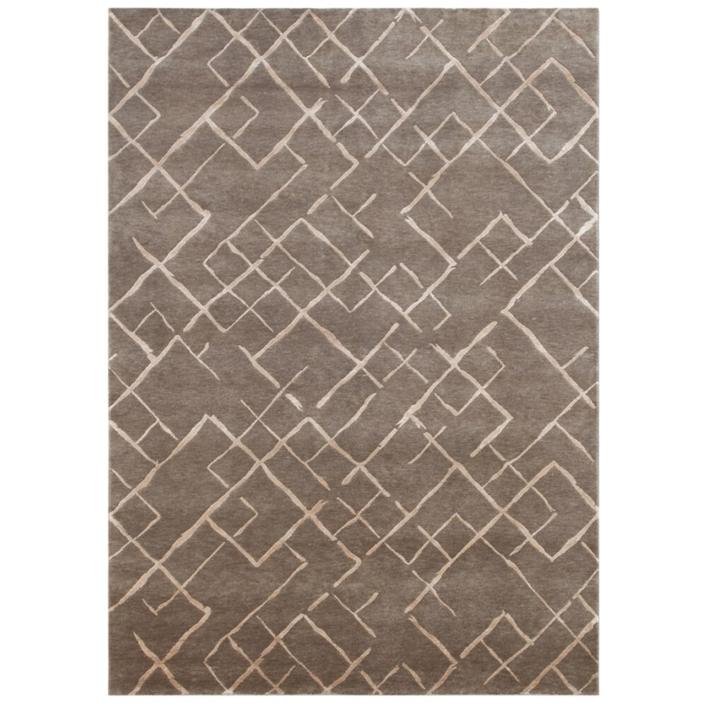 Hand-knotted Geometric Silver Gray Wool/ Art-silk Rug (2' x 3')