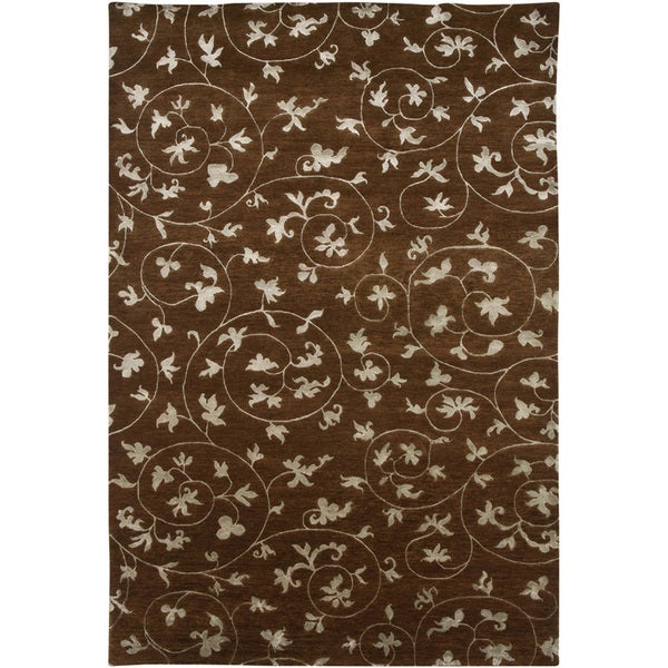 Hand-knotted Floral Tobacco Wool/ Art-silk Rug (5'6 x 8'6)