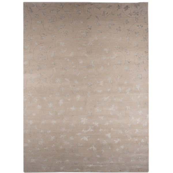 Hand-knotted Floral White Ice Wool/ Art-silk Rug (8' x 11')