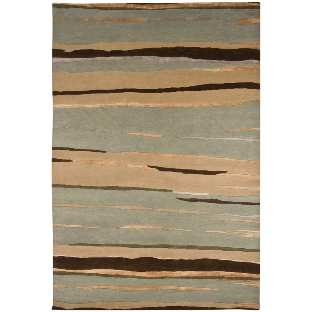Hand-knotted Abstract Ice Blue Wool/ Art-silk Rug (2' x 3')