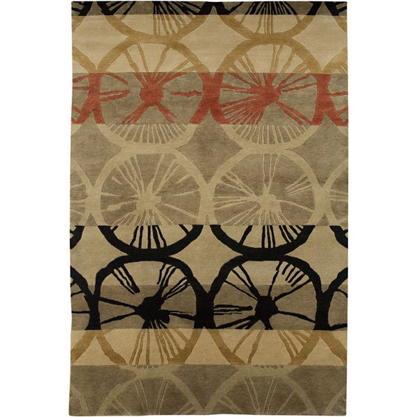 Hand-knotted Abstract Gray Brown Wool Rug (3'6 x 5'6)