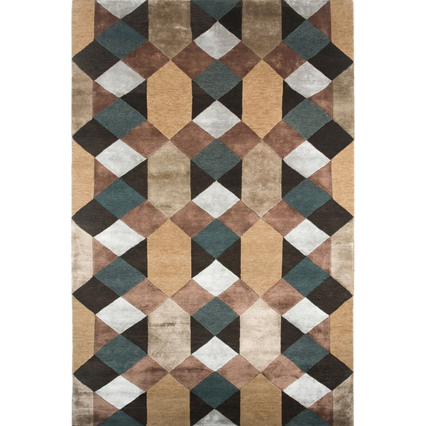 Hand-knotted Geometric Graphite Wool/ Art-silk Rug (9'6 x 13'6)