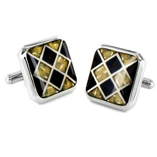 Stainless Steel Black and Goldtone Carbon Fiber Checkerboard Cuff Links