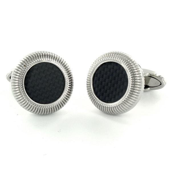 Steel Black Carbon Fiber Inlay Round Cuff Links