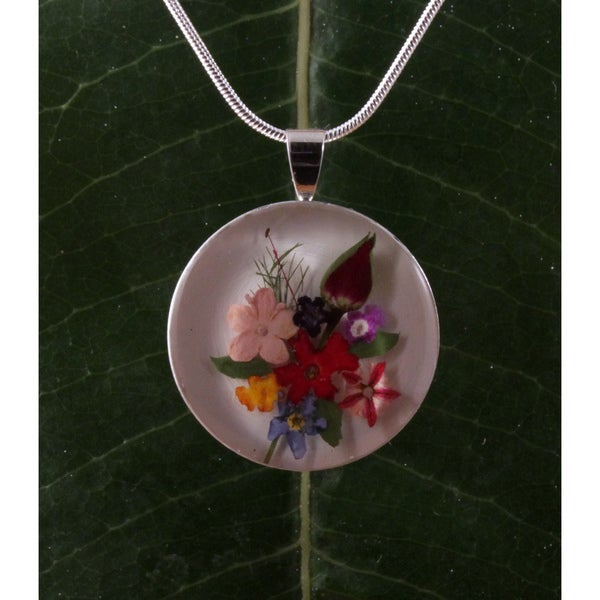 Miniature Bouquet of Flowers and Single Rose Pendant (Mexico)