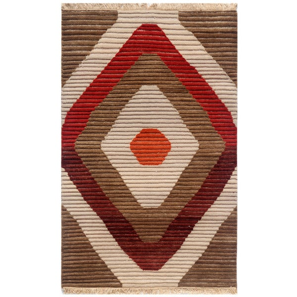 Hand-knotted Geometric Mix Wool Rug (4' x 6')