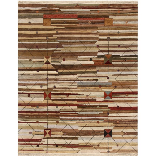 Hand-knotted Abstract Mix Wool Rug (8' x 10')