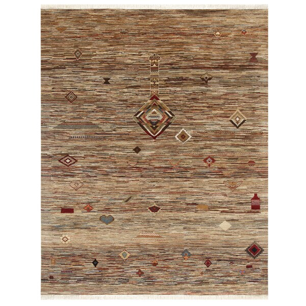 Hand-Knotted Abstract Brown/Gold Mix Wool Area Rug (8' x 10')