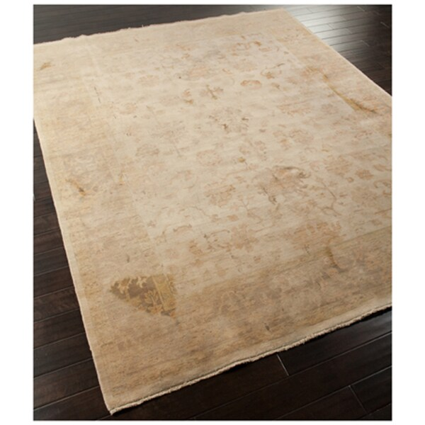 Hand-knotted Oriental Dark ivory Wool Rug (7'10 x 9'10)