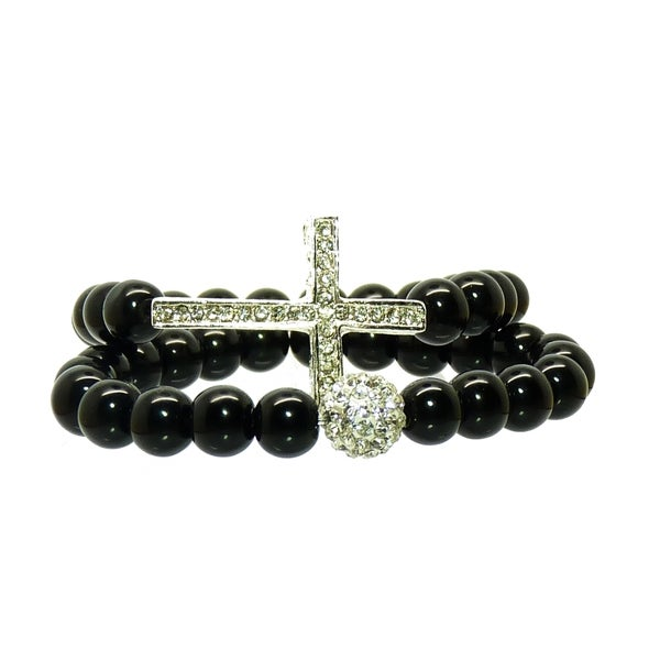 Pretty Little Style Silvertone Sideways Cross Glass Bead Bracelets